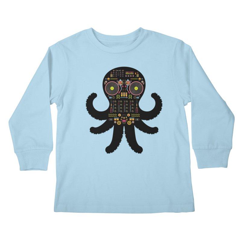 DJ Octopus Kids Longsleeve T-Shirt by Tony Bamber's Artist Shop