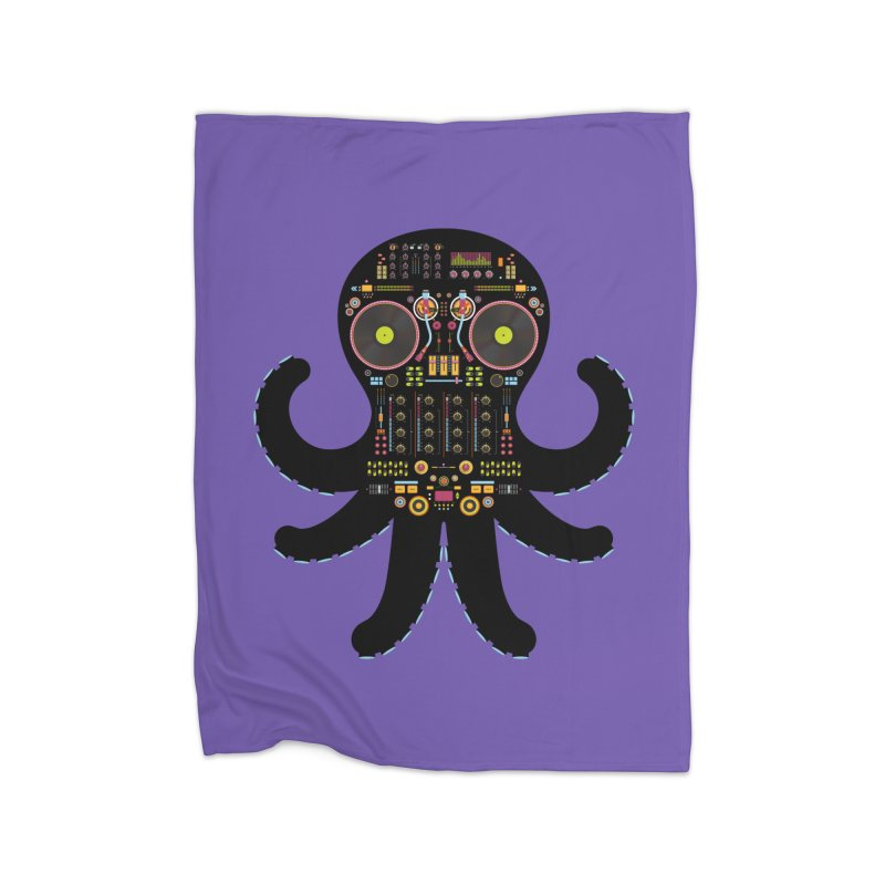 DJ Octopus Home Fleece Blanket Blanket by Tony Bamber's Shop
