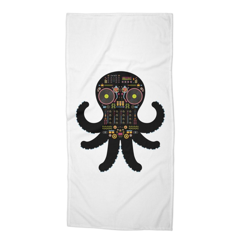 DJ Octopus Accessories Beach Towel by Tony Bamber's Artist Shop