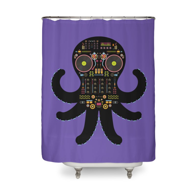 DJ Octopus Home Shower Curtain by Tony Bamber's Shop