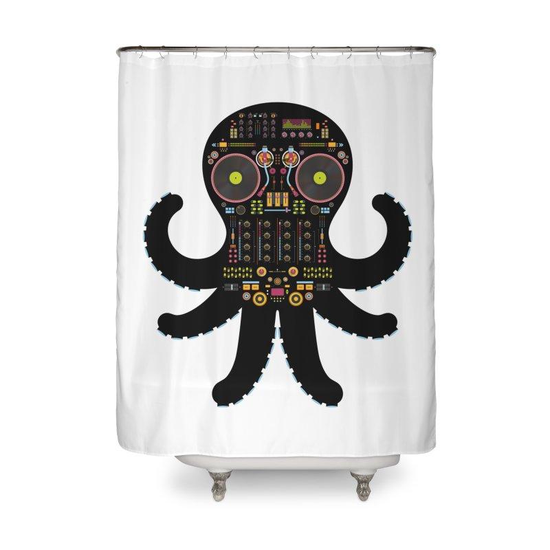 DJ Octopus Home Shower Curtain by Tony Bamber's Artist Shop