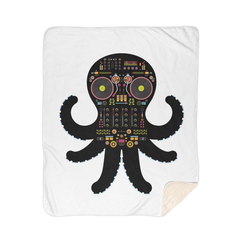 DJ Octopus Home Sherpa Blanket Blanket by Tony Bamber's Artist Shop