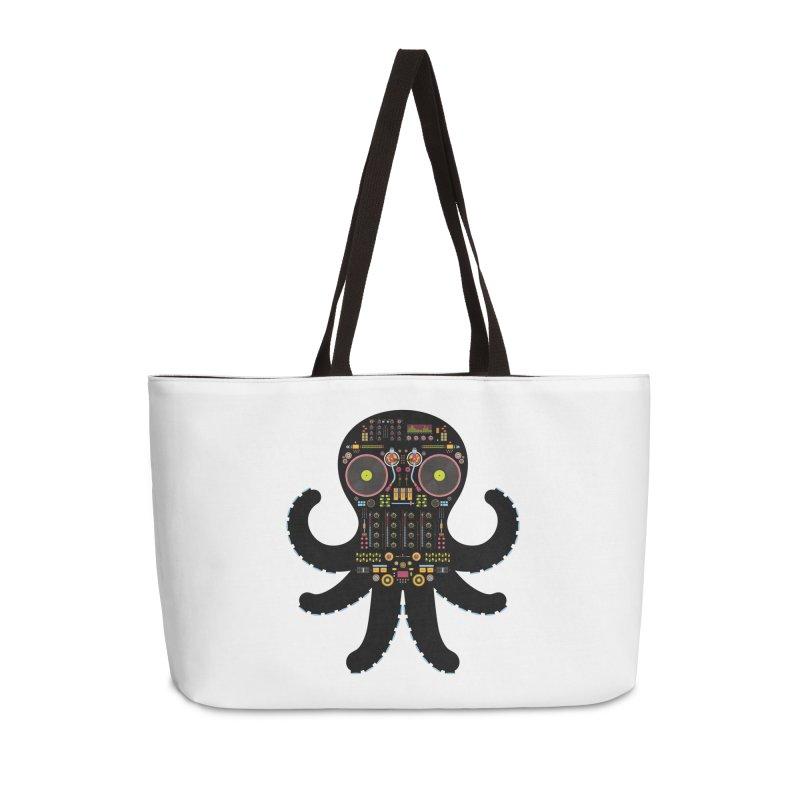 DJ Octopus Accessories Weekender Bag Bag by Tony Bamber's Artist Shop