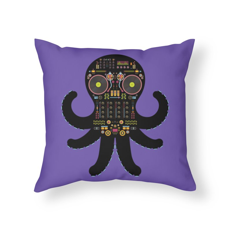 DJ Octopus Home Throw Pillow by Tony Bamber's Shop