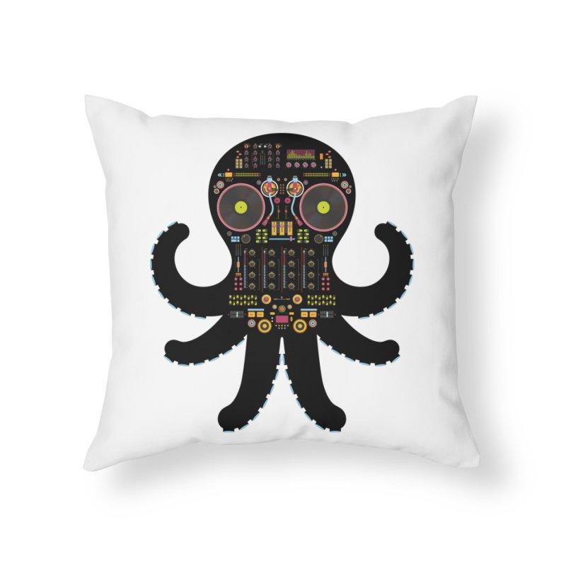 DJ Octopus Home Throw Pillow by Tony Bamber's Artist Shop