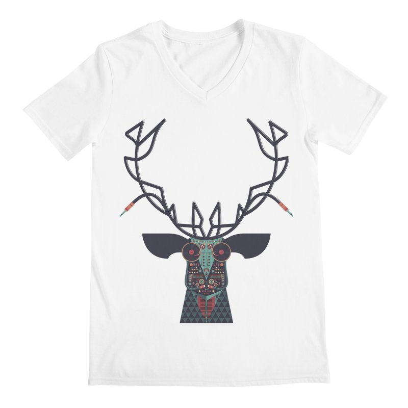 DJ Deer Men's Regular V-Neck by Tony Bamber's Artist Shop