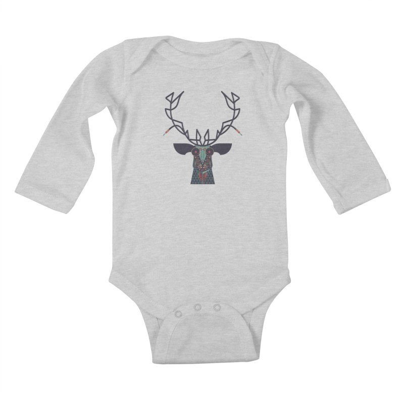 DJ Deer Kids Baby Longsleeve Bodysuit by Tony Bamber's Artist Shop
