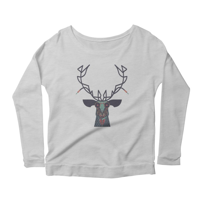 DJ Deer Women's Longsleeve Scoopneck  by Tony Bamber's Artist Shop