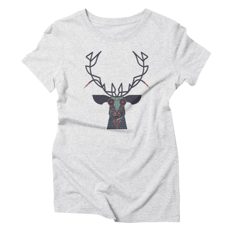 DJ Deer Women's Triblend T-Shirt by Tony Bamber's Artist Shop
