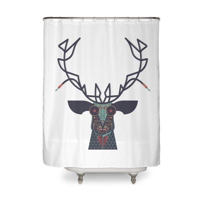 DJ Deer Home Shower Curtain by Tony Bamber's Artist Shop