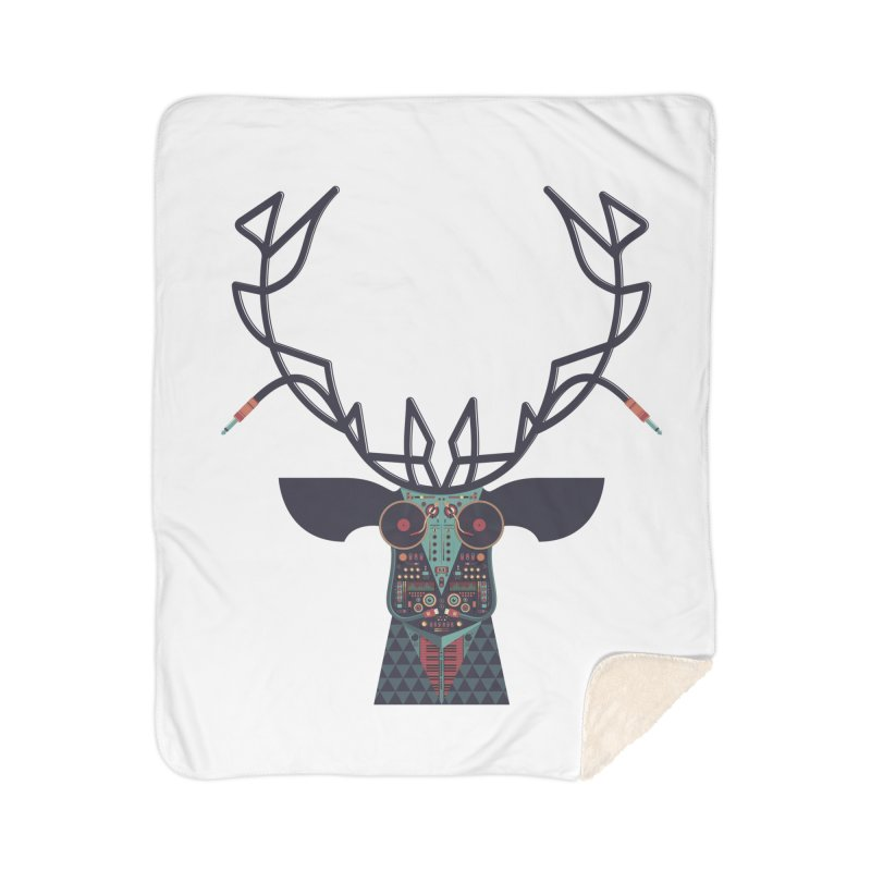 DJ Deer Home Sherpa Blanket Blanket by Tony Bamber's Artist Shop