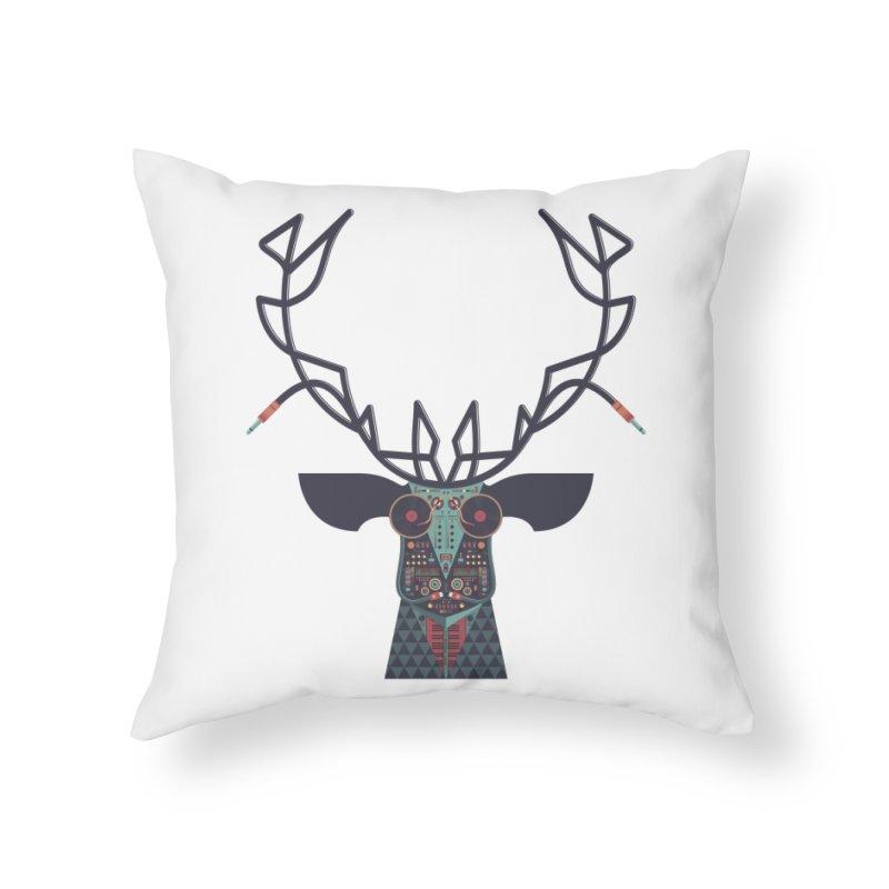 DJ Deer Home Throw Pillow by Tony Bamber's Artist Shop