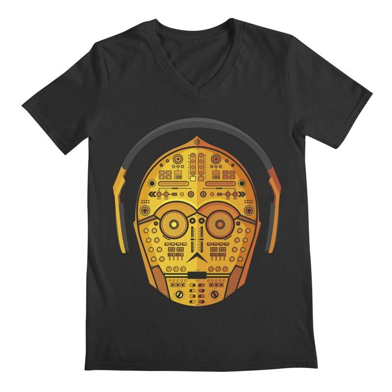 DJ-3PO Men's Regular V-Neck by Tony Bamber's Artist Shop