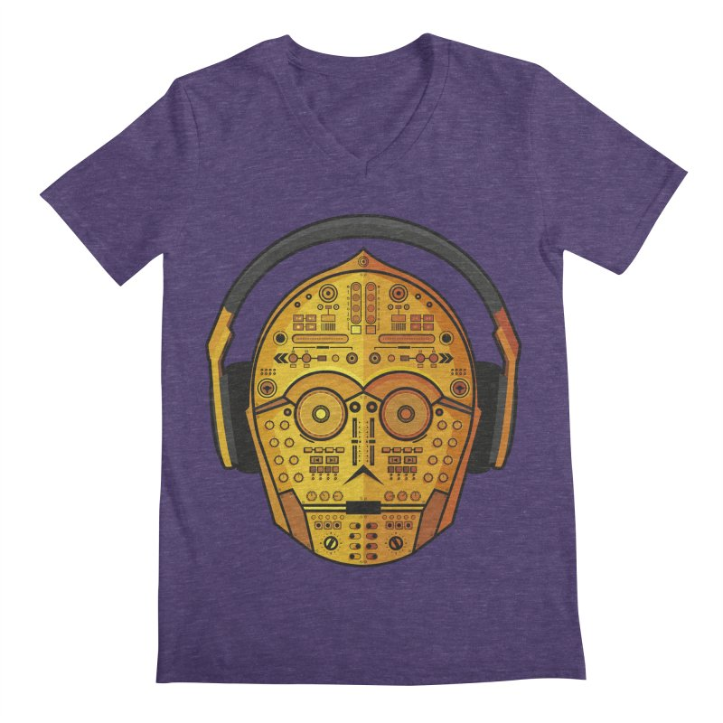 DJ-3PO Men's Regular V-Neck by Tony Bamber's Artist Shop