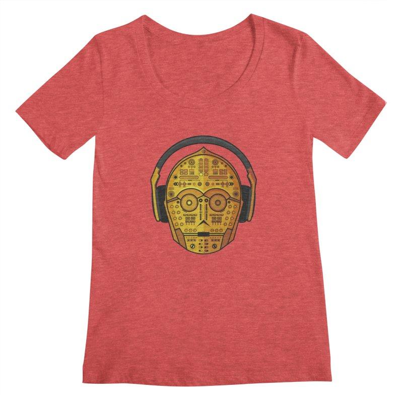 DJ-3PO Women's Scoopneck by Tony Bamber's Artist Shop