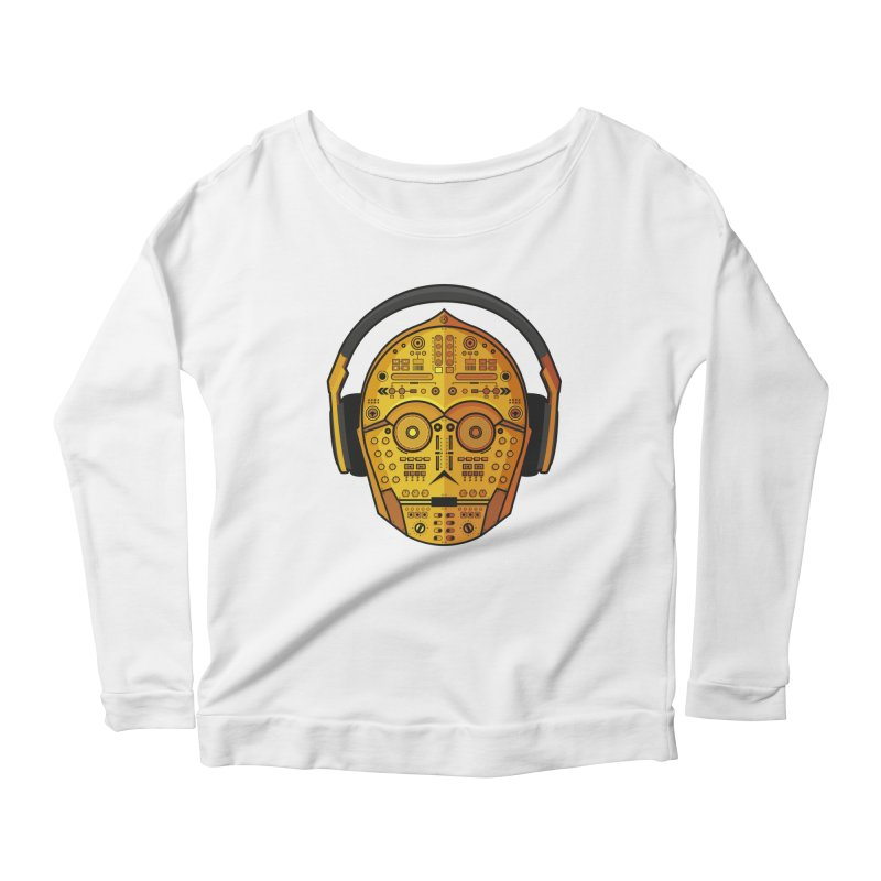 DJ-3PO Women's Scoop Neck Longsleeve T-Shirt by Tony Bamber's Artist Shop