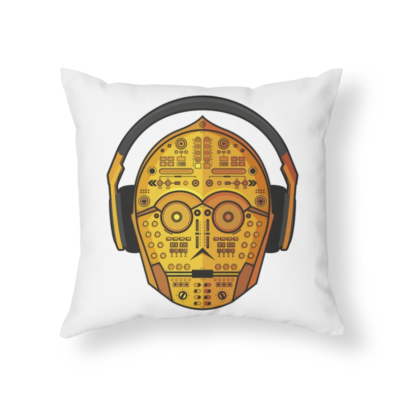 DJ-3PO Home Throw Pillow by Tony Bamber's Artist Shop