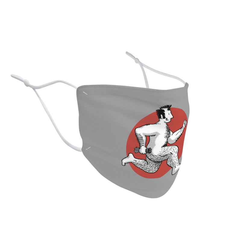 Finn Running (Grey/Red) Accessories Face Mask by Tony Breed T-Shirt Designs
