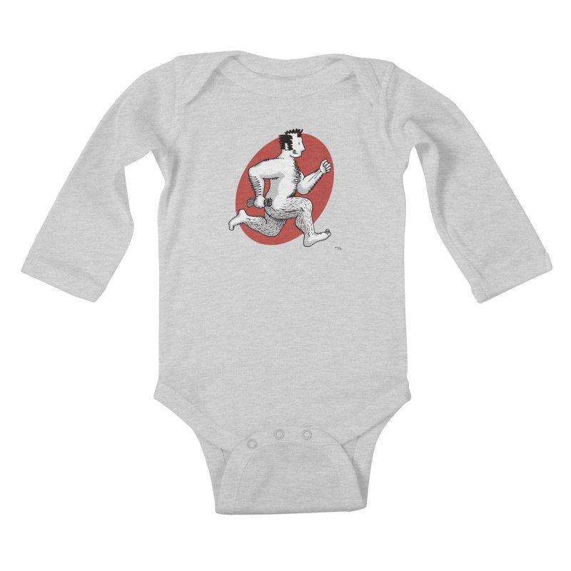 Finn Running (Grey/Red) Kids Baby Longsleeve Bodysuit by Tony Breed T-Shirt Designs