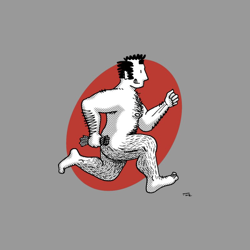 Finn Running (Grey/Red) by Tony Breed T-Shirt Designs
