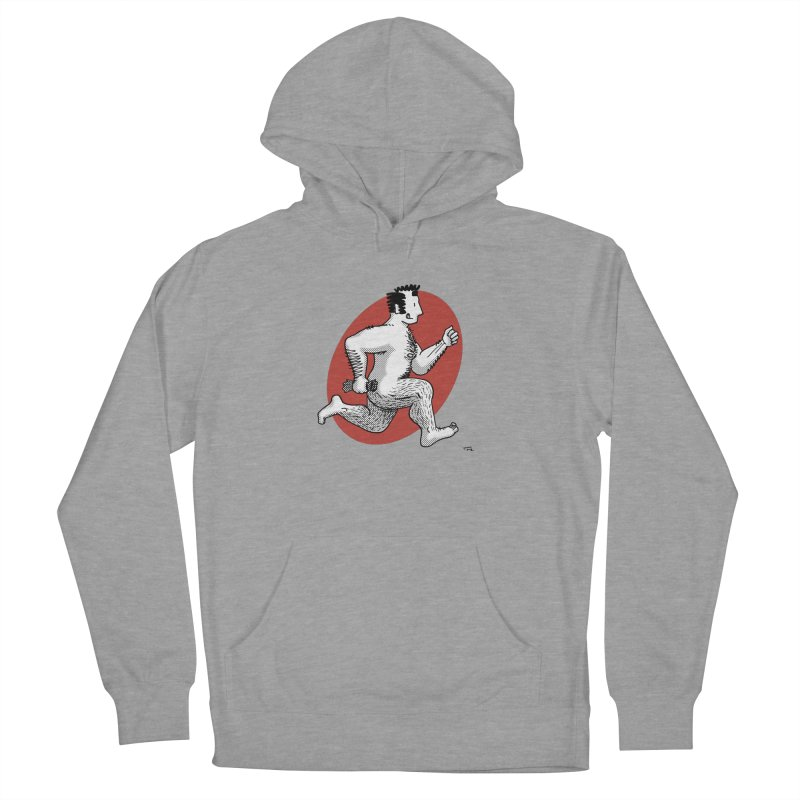 Finn Running (Grey/Red) Men's French Terry Pullover Hoody by Tony Breed T-Shirt Designs