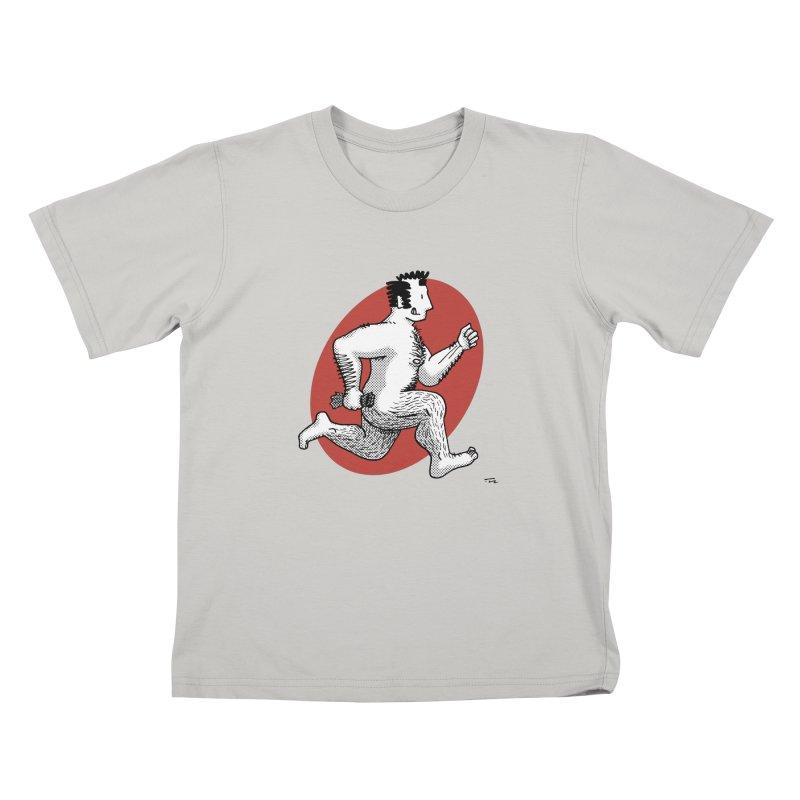 Finn Running (Grey/Red) Kids T-Shirt by Tony Breed T-Shirt Designs