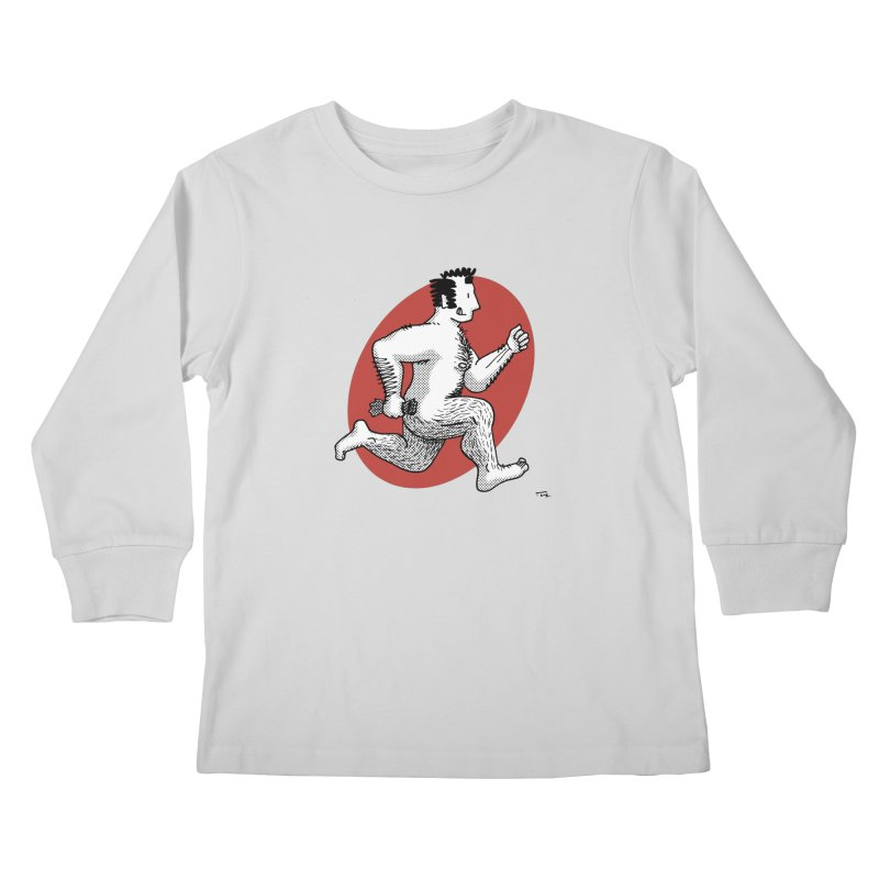 Finn Running (Grey/Red) Kids Longsleeve T-Shirt by Tony Breed T-Shirt Designs