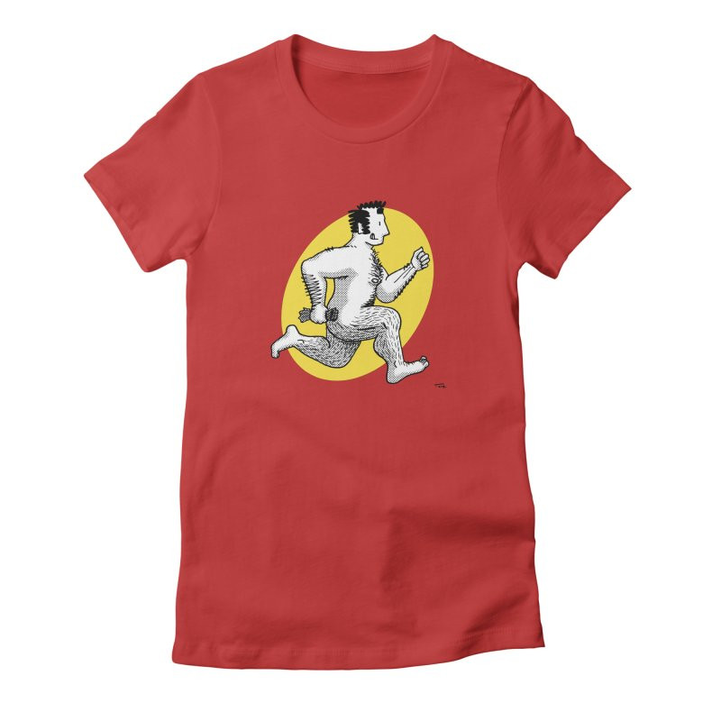 Finn Running (red/yellow) Women's Fitted T-Shirt by Tony Breed T-Shirt Designs