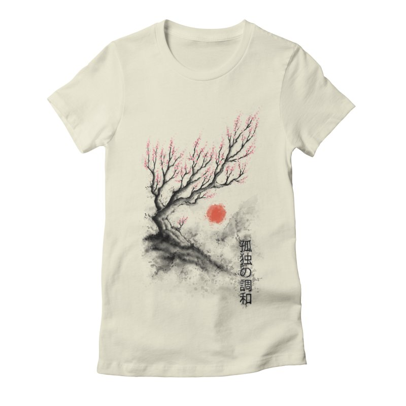 Sakura sumi-e Women's Fitted T-Shirt by tonycenteno's Artist Shop
