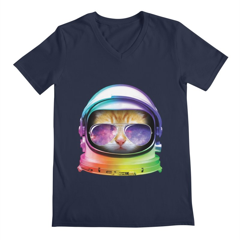 Kitty in Space Men's V-Neck by tonydesign's Artist Shop