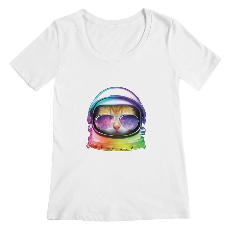 Kitty in Space Women's Scoopneck by tonydesign's Artist Shop