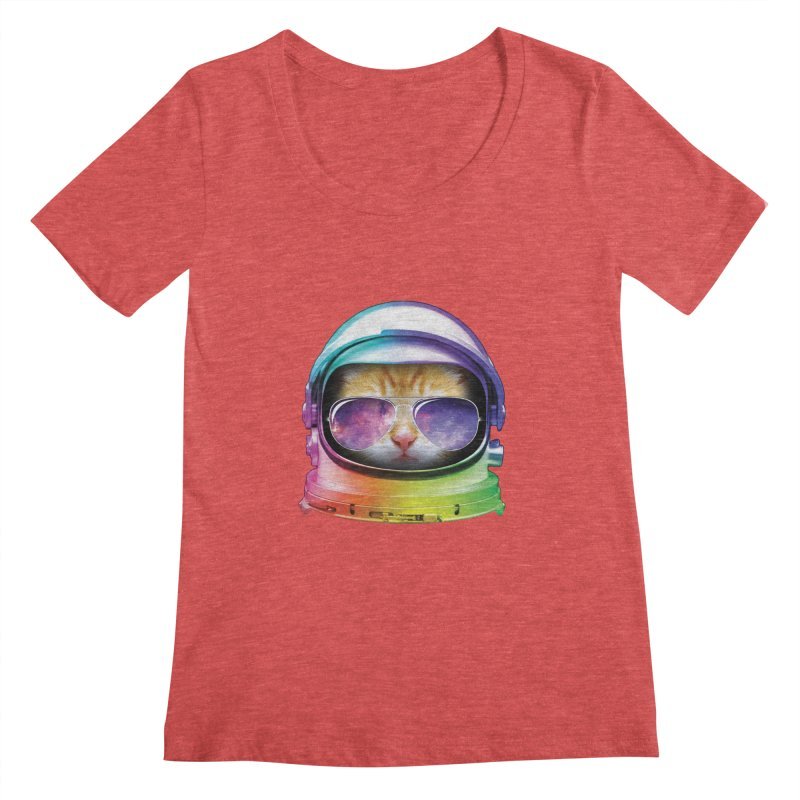 Kitty in Space Women's Scoopneck by tonydesign's Artist Shop