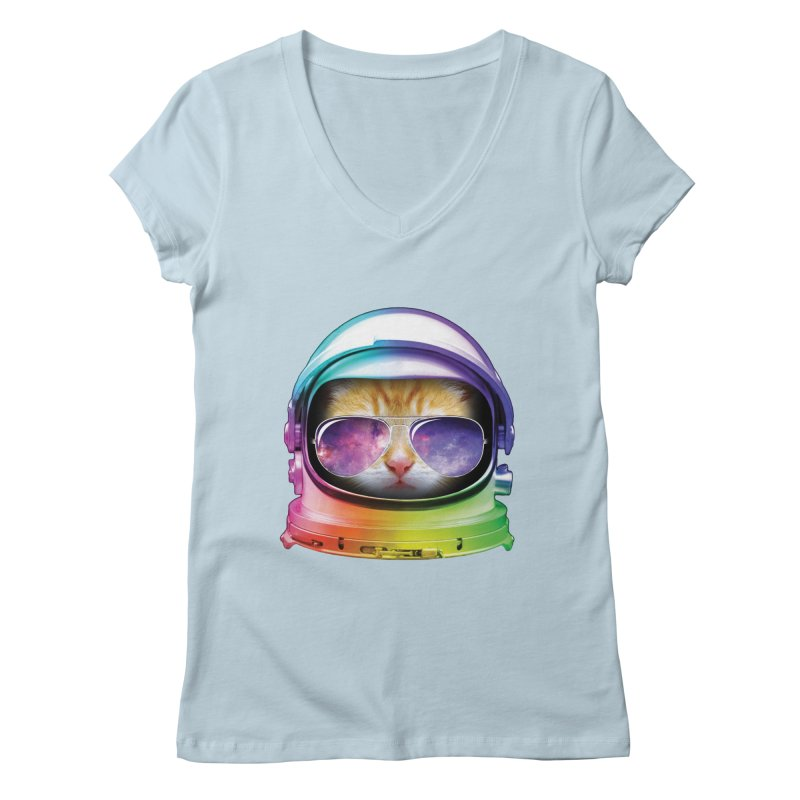 Kitty in Space Women's V-Neck by tonydesign's Artist Shop