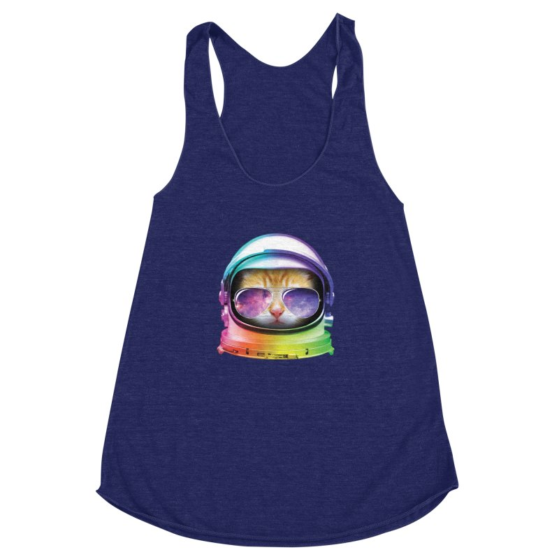 Kitty in Space Women's Racerback Triblend Tank by tonydesign's Artist Shop