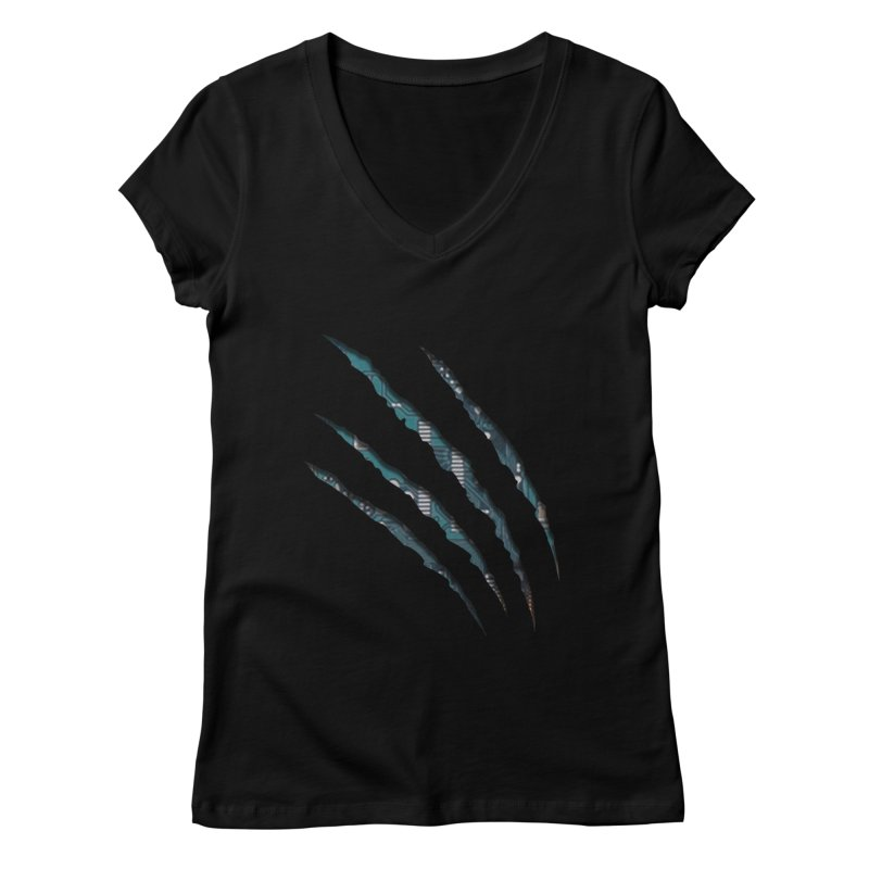 Digital Claw Attack Women's V-Neck by tonydesign's Artist Shop