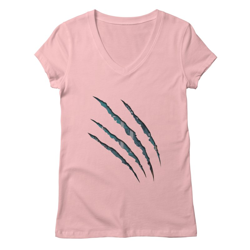 Digital Claw Attack Women's V-Neck by tonydesign's Artist Shop