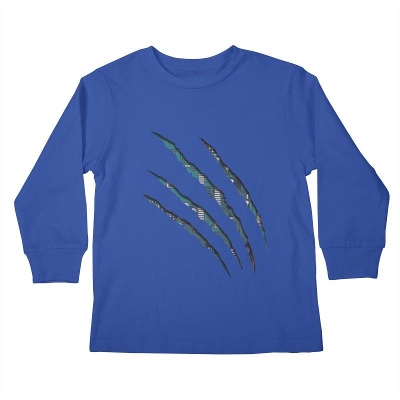 Digital Claw Attack Kids Longsleeve T-Shirt by tonydesign's Artist Shop
