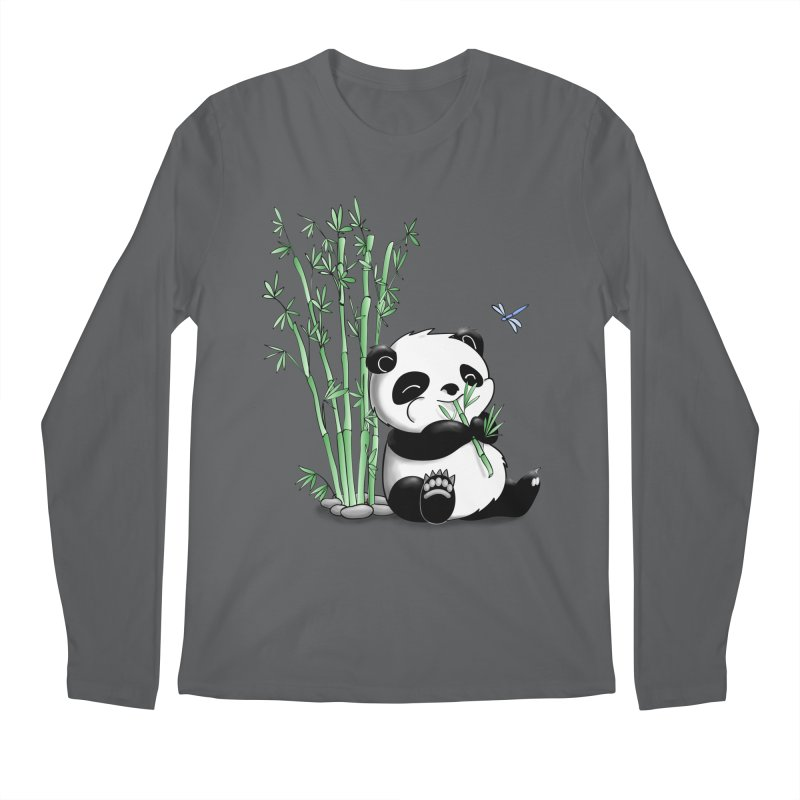 Panda Eating Bamboo Men's Longsleeve T-Shirt by Tootsiecool's Artist Shop