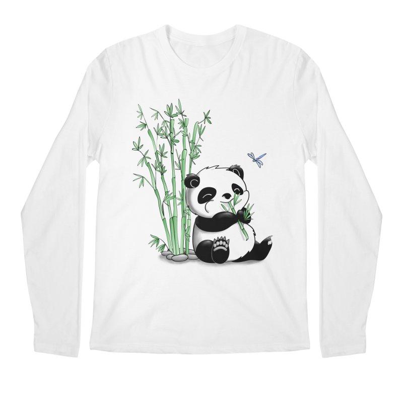 Panda Eating Bamboo Men's Longsleeve T-Shirt by Tootsiecool's Artist Shop