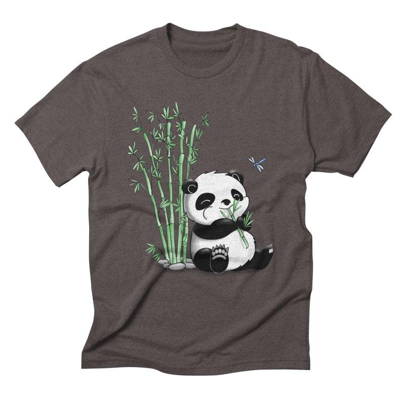 Panda Eating Bamboo Men's Triblend T-Shirt by Tootsiecool's Artist Shop