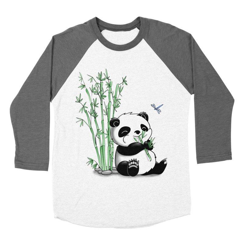 Panda Eating Bamboo Men's Baseball Triblend T-Shirt by Tootsiecool's Artist Shop