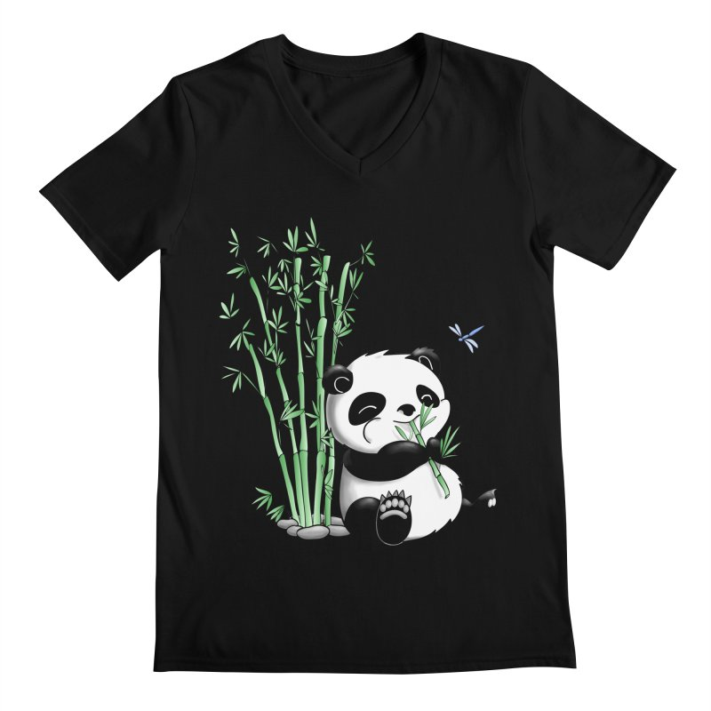 Panda Eating Bamboo Men's V-Neck by Tootsiecool's Artist Shop