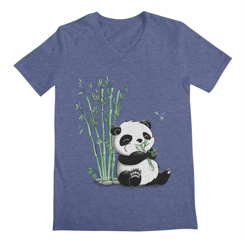Panda Eating Bamboo Men's V-Neck by Tootsiecool's Artist Shop