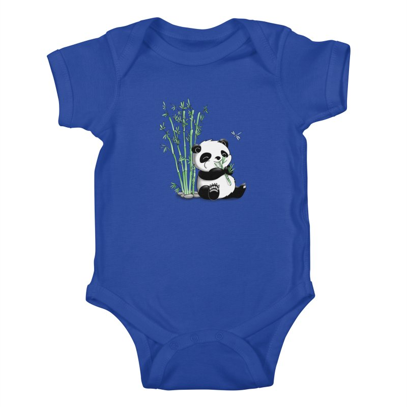 Panda Eating Bamboo Kids Baby Bodysuit by Tootsiecool's Artist Shop