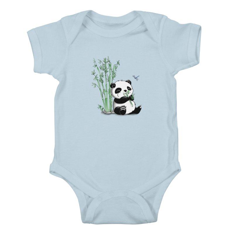 Panda Eating Bamboo Kids Baby Bodysuit by Tootsiecool's Artist Shop