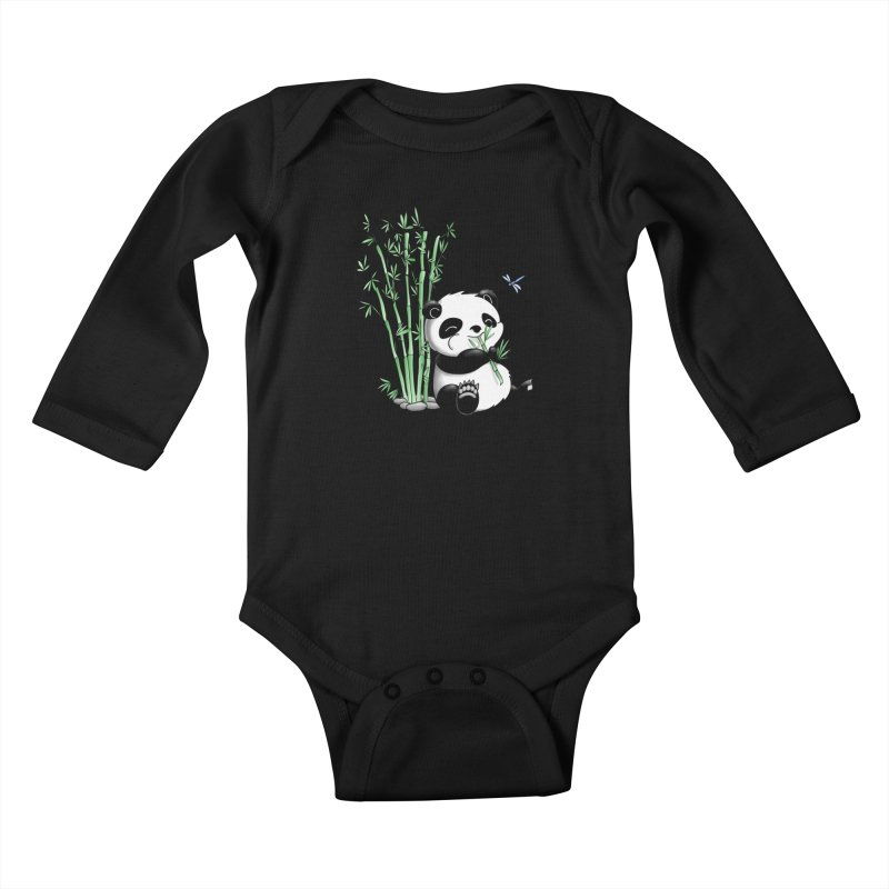 Panda Eating Bamboo Kids Baby Longsleeve Bodysuit by Tootsiecool's Artist Shop