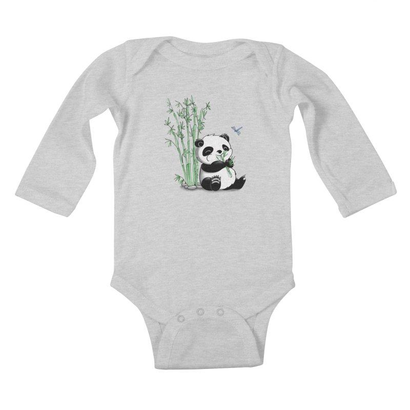 Panda Eating Bamboo Kids Baby Longsleeve Bodysuit by Tootsiecool's Artist Shop