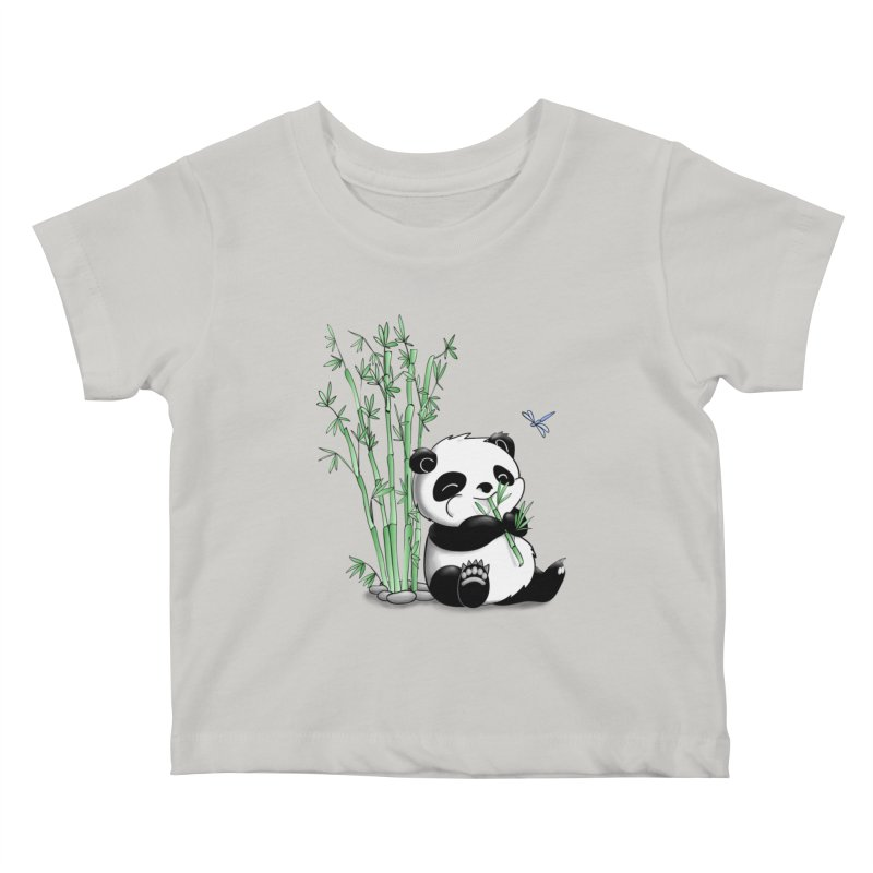 Panda Eating Bamboo Kids Baby T-Shirt by Tootsiecool's Artist Shop
