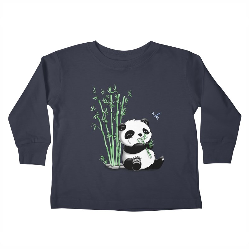Panda Eating Bamboo Kids Toddler Longsleeve T-Shirt by Tootsiecool's Artist Shop