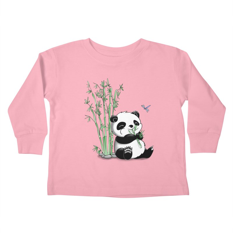 Panda Eating Bamboo Kids Toddler Longsleeve T-Shirt by Tootsiecool's Artist Shop